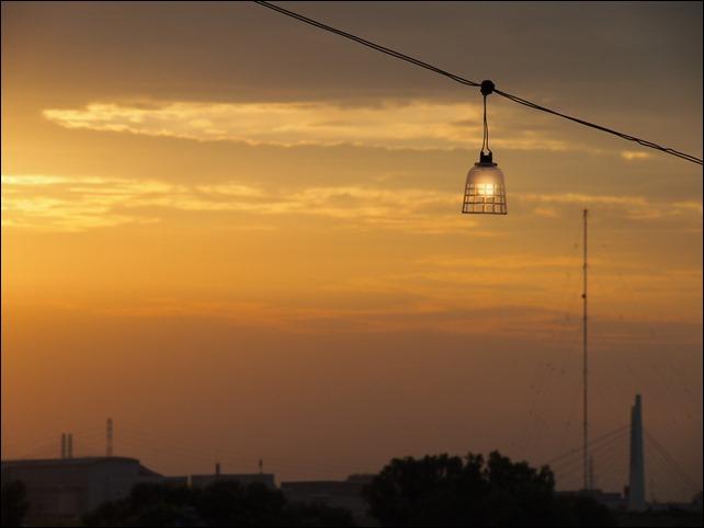花火会場からの夕日