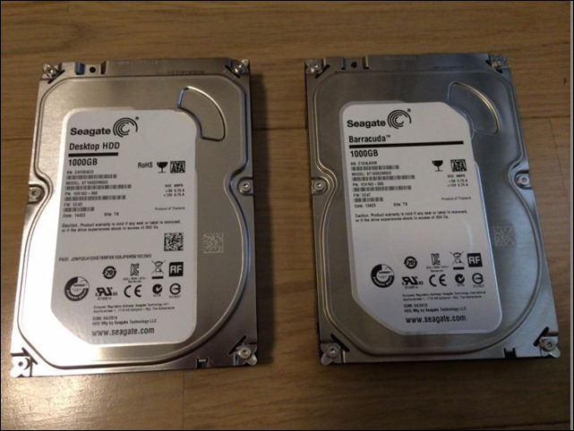 壊れたHDDと新品HDD