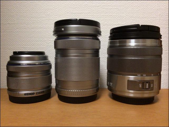 レンズの大きさ比較写真